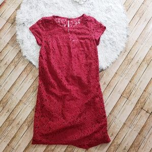 Loft dress lace wine small